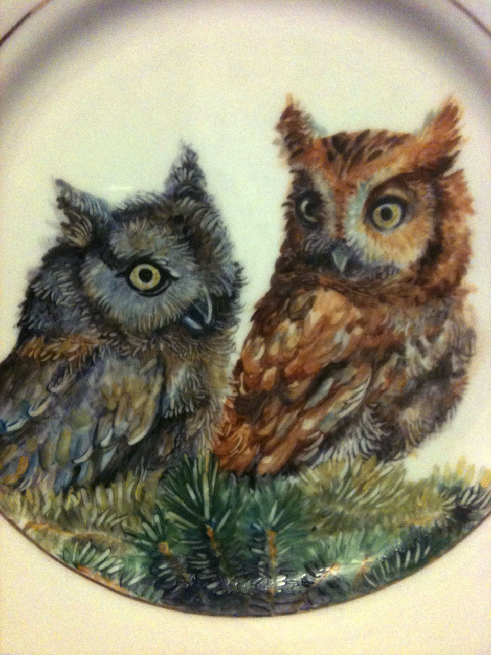 Owlet plate I'm working on in my china painting class. (Yes, I take a china painting class, and, yes, I'm the youngest - by about 25 years - person there). Gotta love it.