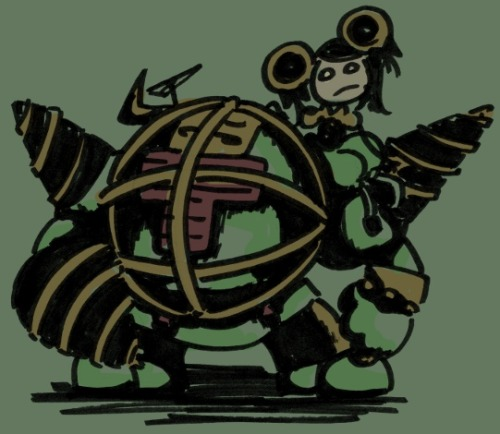 "fishfishlove:  ""Bioshock and Tiger & Bunny crossover. Antonio as a Big Daddy, Pao-Lin as a Little Sister."""