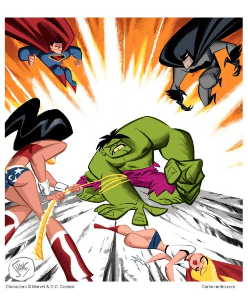 bencamberos:The Hulk vs JLA By Shane Glines