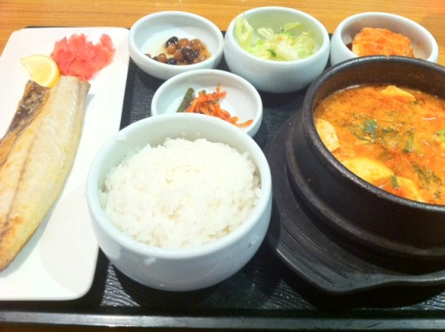 Soysauce Boiled Chub Mackerel  & Sundubu Jigae (Spicy Soft Tofu Stew)KRW???@Incheon AirportIncheon,Korea