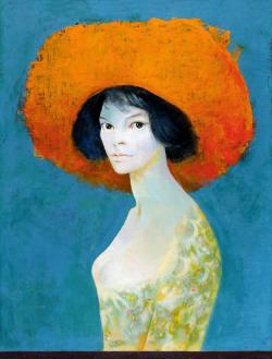 bildwerk:  Leonor Fini, Self-portrait with red hat, 1968