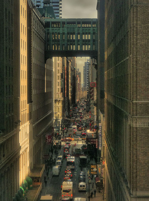 Midtown New York traffic under the Gimbels Bridge by joiseyshowaa on Flickr.