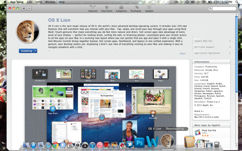 Mac OS X Lion here we come baby! £20.99 for a new operating system, bargain.