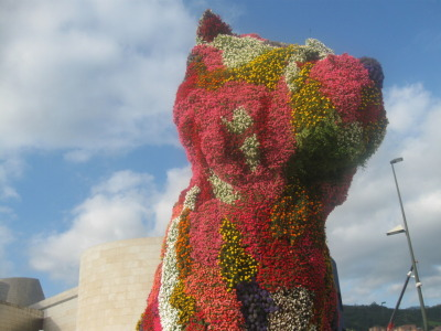July 2009. Poopy the flower dog at the Guggenheim Museum. Bilbao, Biscay, Spain.