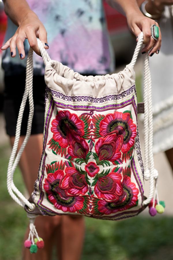 freepeople:  Embroidered back pack,  Festival Fashion at Pitchfork Music Festival