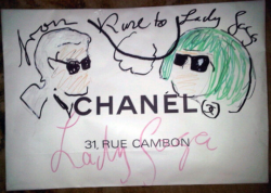 Karl Lagerfeld drew this adorable doodle on Lady Gaga's Chanel shopping bag.