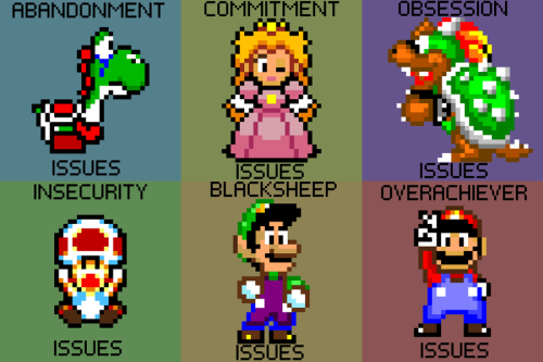 elyshatheriddell:  Super Mario Issues by ~Elysha Riddell Let's be serious all the mario characters have some sort of personal issues.Yoshi will always be left behind, Peach is suspiciously in another castle, Bowser can't seem to leave Peach alone, Toad seems plagues by doubt , Luigi was never the family favorite, and Mario always had to be the best.