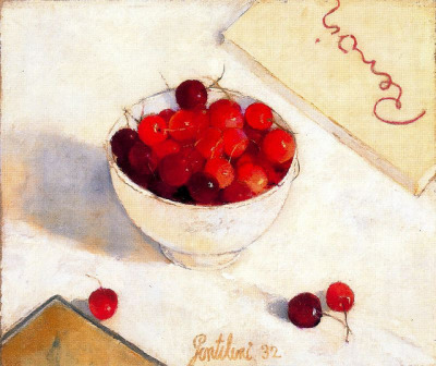 23rd-block:  Franco Gentilini, Cup of Cherries, 1932. Oil on canvas.