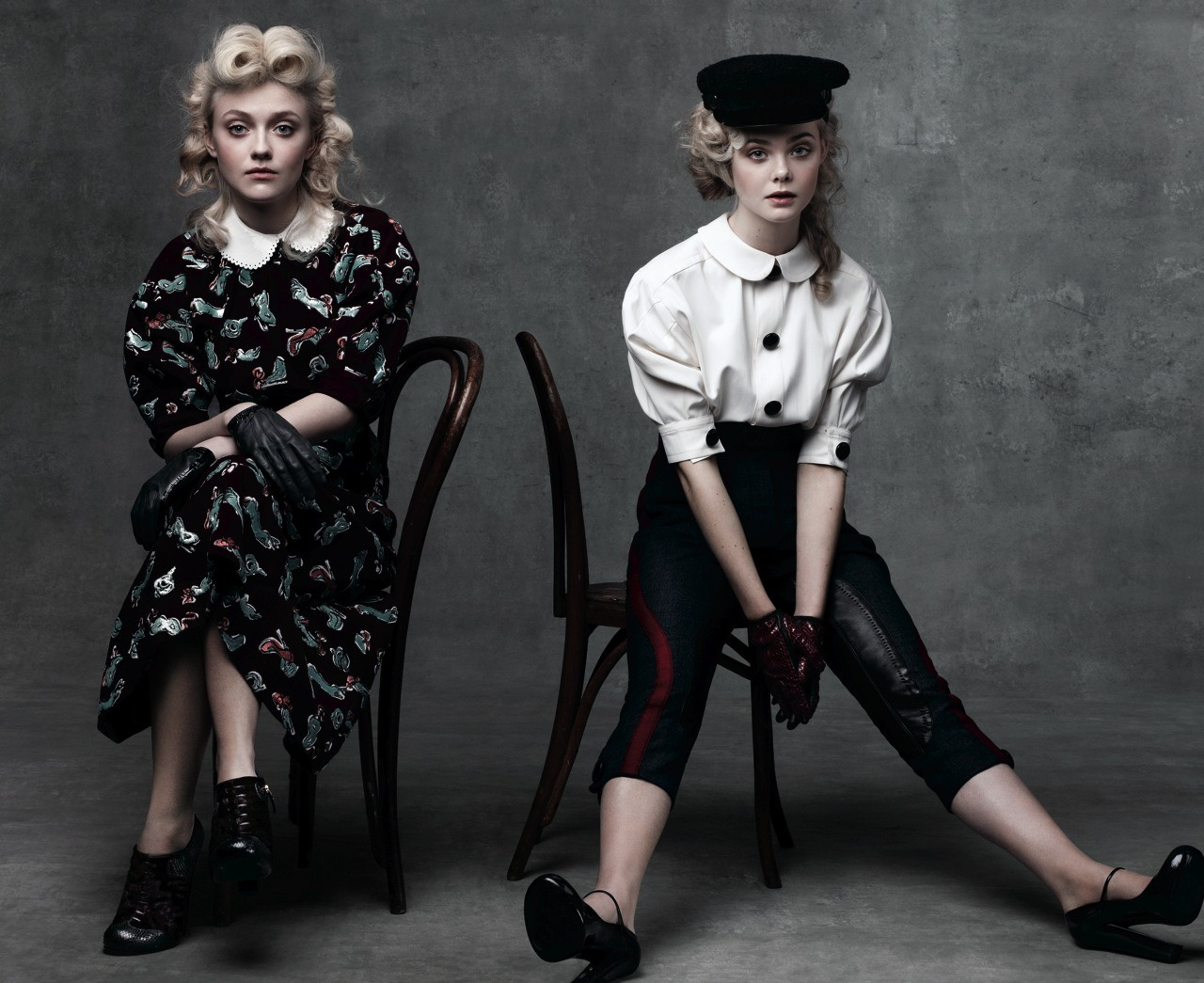vogue:  Dakota and Elle Fanning Photographed by Craig McDean for the August Issue of Vogue