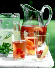 Moscato Summer Punch   Ingredients   ·      1 bottle of Moscato d'Asti ·      1 liter of Seagrum' s Ginger Ale ·      1 can of the frozen pink lemonade concentrate ·      3 cups of pineapple juice ·      1 cup sugar ·      Sliced strawberries ·      Chunked cantaloupe ·      Chunked pineapple Directions   Place all in a punch bowl and cover in refrigerator for 2 hours and serve. It is so good, enjoy! Source: http://bit.ly/ndo5ff