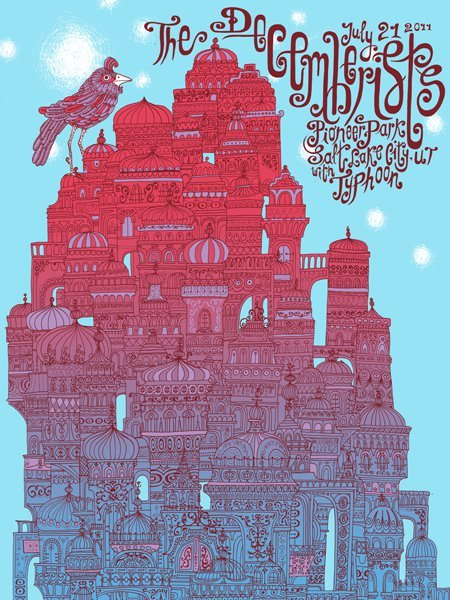 The Decemberists show poster for Salt Lake City, UT (July 21, 2011). Designed by Zeloot. Limited edition of 90. Four-color screen print on 19″ x 25″ paper.
