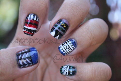 This was my first time practicing tribal nails. I was inspired by The Illustrated Nail — their nail art is definitely on my top favorites. What I used: OPI - Black Onyx OPI - Alpine Snow OPI - Dating a Royal OPI - OPI Red OPI - Parlez vous OPI? OPI - Jade is the New Black Essie - Smokin' Hot Essie - St. Lucia Lilac Cacee striping brushes in black & yellow