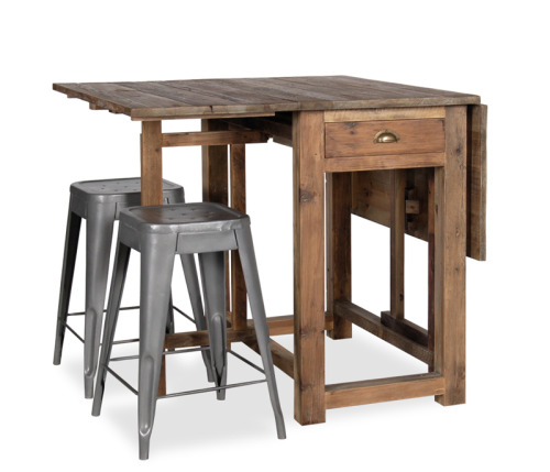 Stressed wood and metal stools. An industrial way to give you the option of more space in a cramped kitchen! What an awesome sale item at $800 for all 3 at Boston Interiors.