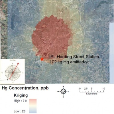 "Mercury concentration in soils near a coal plant in central Indiana (Gabriel M. Filippelli and Carrie Lynn Hatcher, IUPUI) via GIS and Science also: ""1 in 7 fish in Indiana contain mercury levels not fit for human consumption"" (USGS)"