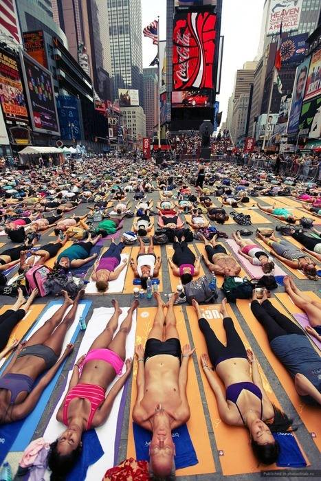 Yoga in NY Times Square!