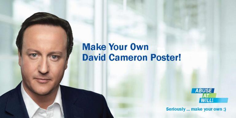 Make Your Own David Cameron Poster! An old one (came out before the last UK election), but I'm sure there are still some creative uses for it ;) http://www.andybarefoot.com/politics/cameron.php