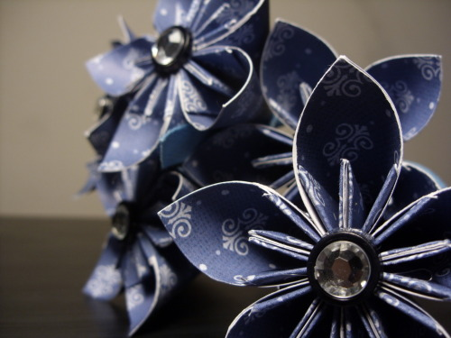 Blue Patterned Kusudama Origami Paper Flowers by PaperShell @ Etsy