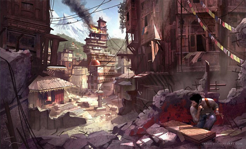 fuckyeahvideogameconceptart:Uncharted 2. Environment Art/Action Sequence Concept Art by Shaddy Sidafi.