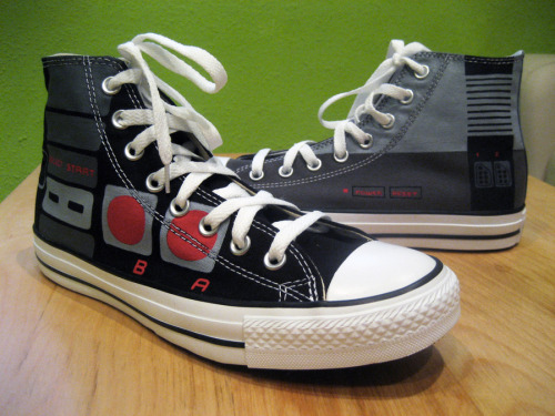 it8bit:  Nintendo NES Chucks - by Maya Pixelskaya Website || deviantART || Facebook Comissioned by a loving wife for her classically trained husband!  Unf. I could be converted to skinny jeans just to show these beauties off.