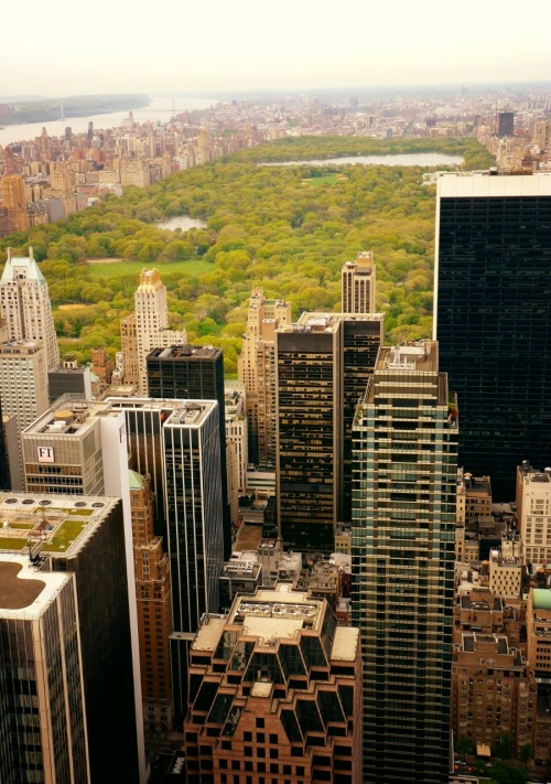 "Central Park and midtown skyscrapers viewed from above. New York City.  Earlier today, I posted a dense cityscape of midtown Manhattan looking south towards the Brooklyn and Manhattan bridges. I thought it would be interesting to follow it up with this particular image.   Facing north, looking towards upper Manhattan what stands out visually is Central Park. Central Park is ""is 2.5 miles (4 km) long between 59th Street (Central Park South) and 110th Street (Central Park North), and is 0.5 miles (0.8 km) wide between Fifth Avenue and Central Park West.""   ""The park initially opened in 1857, on 843 acres (3.41 km2) of city-owned land. In 1858, Frederick Law Olmsted and Calvert Vaux won a design competition to improve and expand the park with a plan they entitled the Greensward Plan. Construction began the same year and was completed in 1873….The park, which receives approximately thirty-five million visitors annually, is the most visited urban park in the United States.  …While foliage in much of the park appears natural, it is in fact almost entirely landscaped. The park contains several natural-looking lakes and ponds that have been created artificially,extensive walking tracks, bridle paths, two ice-skating rinks (one of which is a swimming pool in July and August), the Central Park Zoo, the Central Park Conservatory Garden, a wildlife sanctuary, a large area of natural woods,  a 106-acre (43 ha) billion-gallon reservoir with an encircling running track, and an outdoor amphitheater, called the Delacorte Theater, which hosts the ""Shakespeare in the Park"" summer festivals. Indoor attractions include Belvedere Castle with its nature center, the Swedish Cottage Marionette Theatre, and the historic Carousel. In addition there are numerous major and minor grassy areas, some of which are used for informal or team sports, some are set aside as quiet areas, and there are a number of enclosed playgrounds for children.""  This is a fascinating bit of trivia: ""The real estate value of Central Park was estimated by the property appraisal firm, Miller Samuel, to be $528,783,552,000 in December 2005."" Source  View this photo larger and on black on my Google Plus page   —  Buy ""Central Park and the New York City Skyline"" Posters and Prints here, Other versions of this print with writing and various borders can be viewed  here (any of them can be customized to have whatever background you desire): ""Central Park and the New York City Skyline"" with Black Border, ""Central Park and the New York City Skyline"" with White Border, ""Central Park and the New York City Skyline"" with Grey Border, View my store, email me, or ask for help."