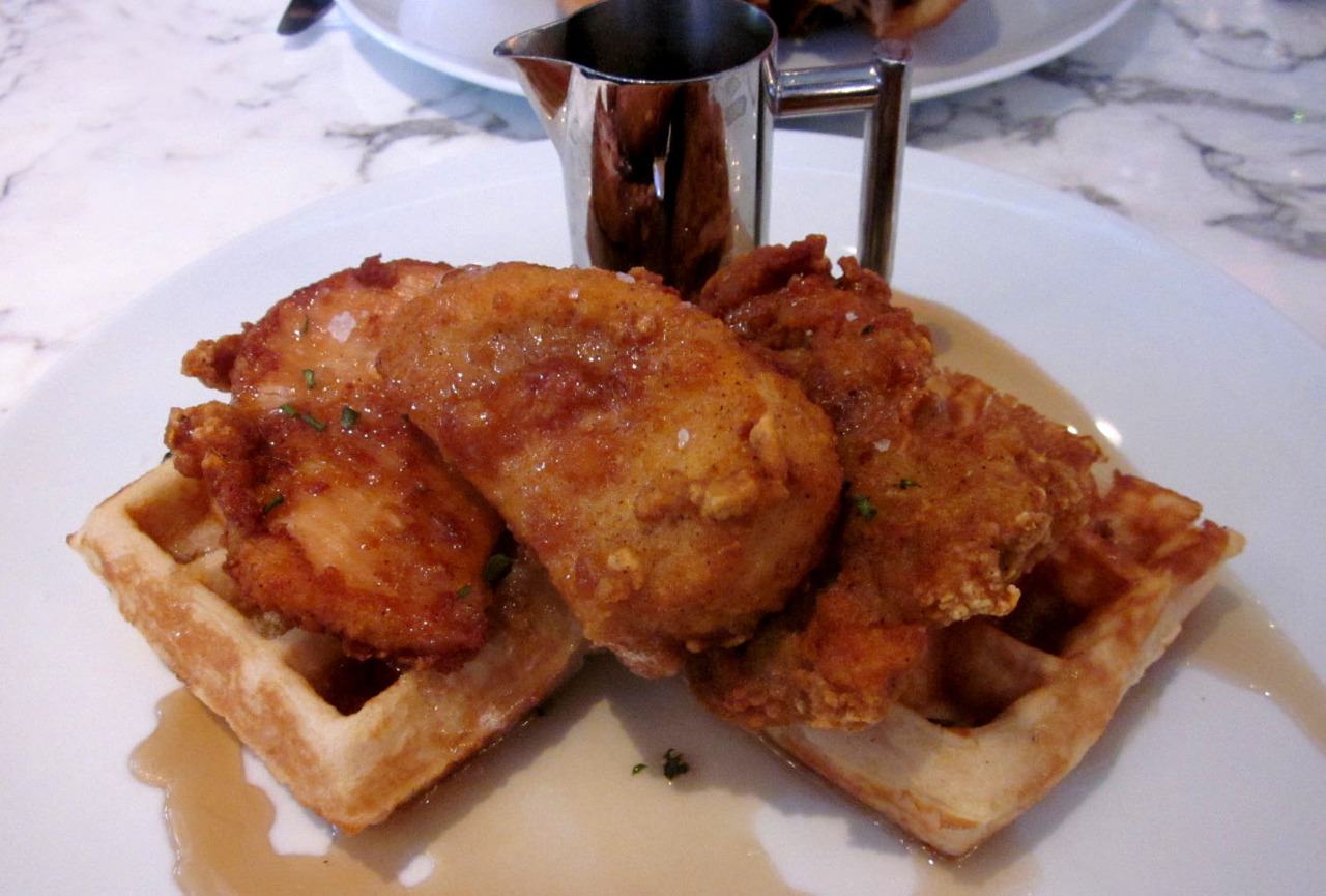 Chicken and Waffles from Sugar Factory in Paris Las Vegas A little pricey, and a little over cooked. Still gotta love Chicken and Waffles, though. My next post will be of the fondue we ordered for dessert.