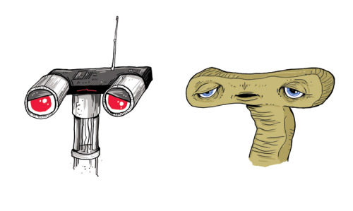 Characters from memory #4: E.T. and Johnny 5.