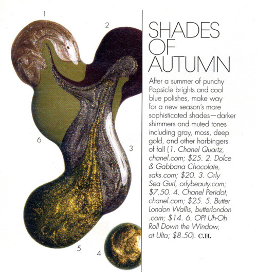 Shades of Autumn: Check out W Magazine's round-up of fall's sophisticated polishes. 1. Chanel Quartz, $25 2. Dolce & Gabbana Chocolate, $20 3. Orly Sea Gurl, $7.50 4. Chanel Peridot, $25 5. Butter London Wallis, $14 6. OPI Uh-Oh Roll Down the Window, $8.50