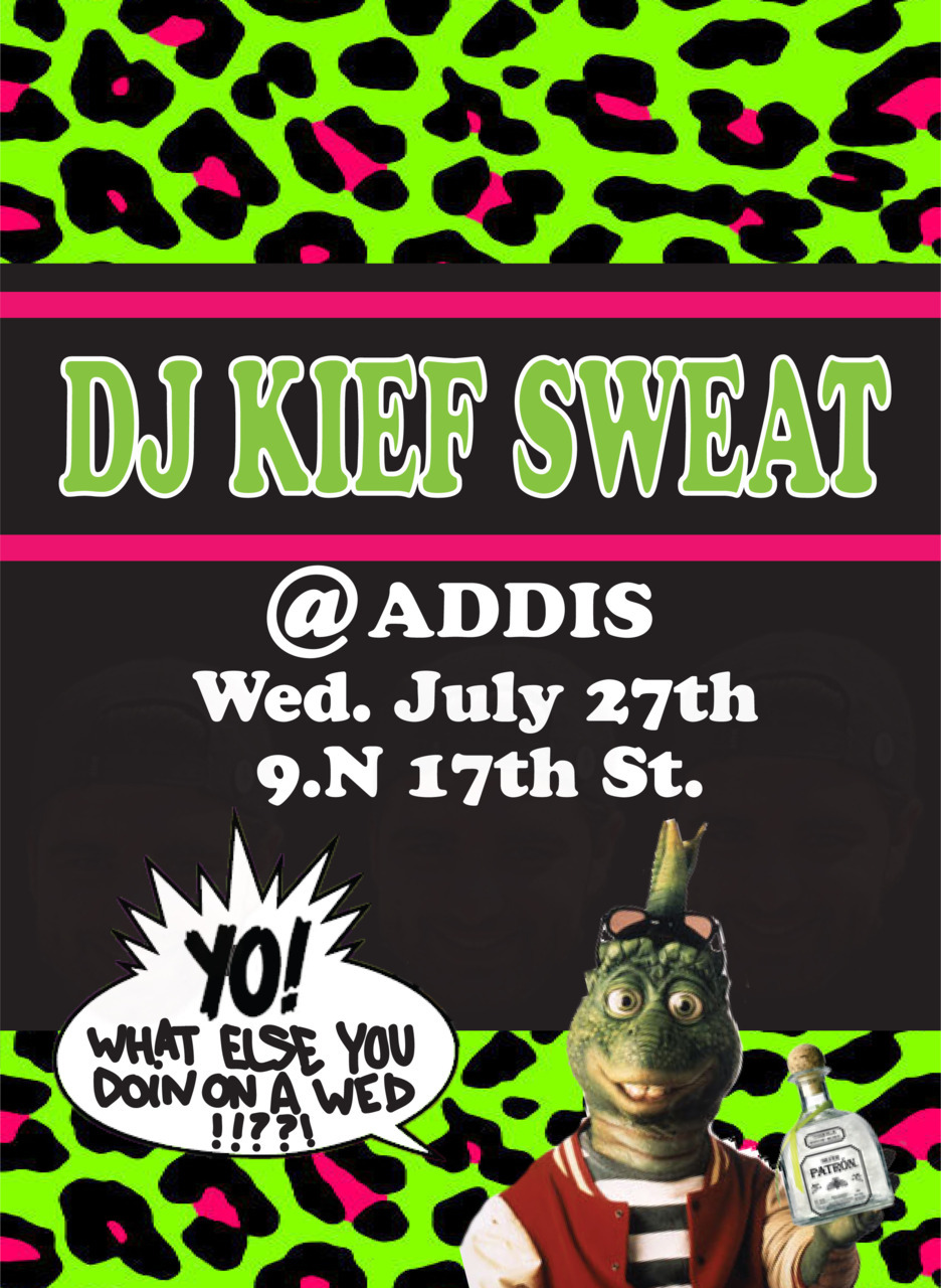 rbcrime:  Next Wednesday night ima be spinning at Addis again. Ima be spinning a lot of 90s rap and R&B with the occasional bow bow and woop woop. The bottom and back will be picking up and dropping people off throughout the night as well.