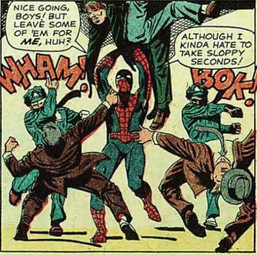 1.) Spider-Man talks dirty to evildoersIf you need any proof that crime-fighting is a form of sexual sublimation for Spider-Man, here it is.