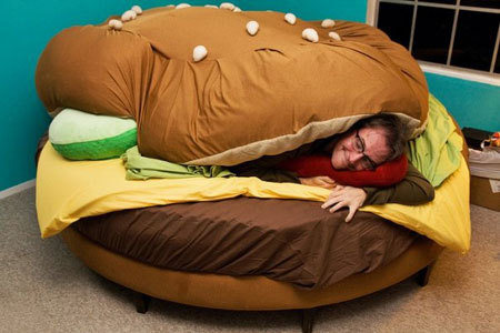 awarningsign:  Must. Have. Cheeseburger. Bed.