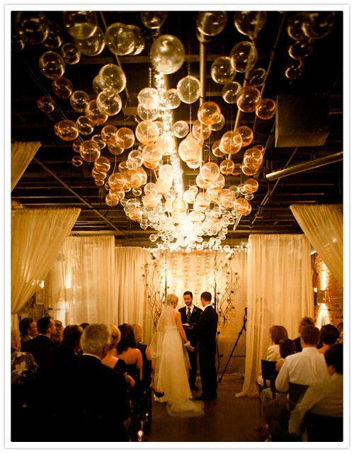 a-ladys-findings:  DIY: Bubble Chandelier via 100 Layer Cake  Imagine all the goodies you can put inside the bubbles- glitter, sequins, flowers, confetti… love it!