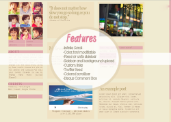 Layout Title: Evan Version II Main Features: -Automatic Infinite Scrolling,Color and font modifiable,Fixed or unfix sidebar,Sidebar and background upload,Custom links,Twitter feed,colored scrollbar,Disqus Comment Box. PREVIEW | INSTALL