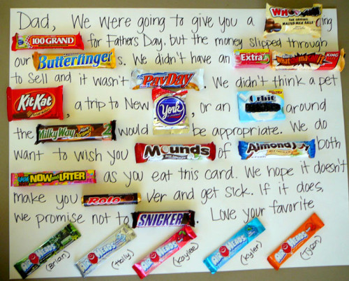 truebluemeandyou:  This Candy Card Extravaganza for Father's Day could be adapted so easily for birthdays or anything. I saw this idea in June, but it's really grown on me. From B.O.E. (Bits of Evertything) here. I didn't see other fun candy you could add like peeps or milky way bars.