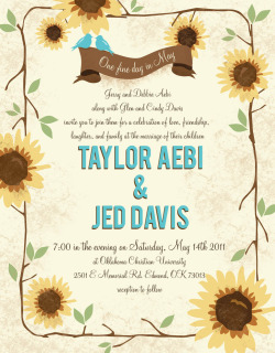 One fine day in May. Sunflower wedding invitations for Jed and Taylor.