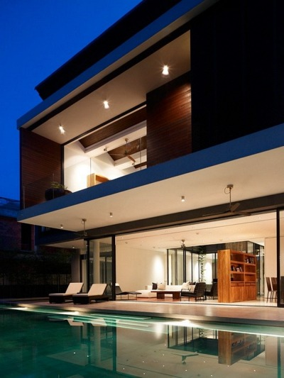 micasaessucasa:  (via Nature Funneled Inside Sleek Fortress House | The Beautifulist)  vinzo, i like this.. but we need to make a few changes like… extend the pool into the house and change the floor to glass :)