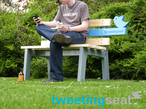 "Design student Christopher McNicholl has created the TweetingSeat: a picnic bench with its own social media account. It records and posts pictures, live, of all its visitors.   The TweetingSeat uploads images from two different cameras and sends them to the Twitterfeed. One camera is located on the bench, the other is located in a ""bird box"" like the one above. Cute? Or creepy? Chris McNicholls explains his design concept here."