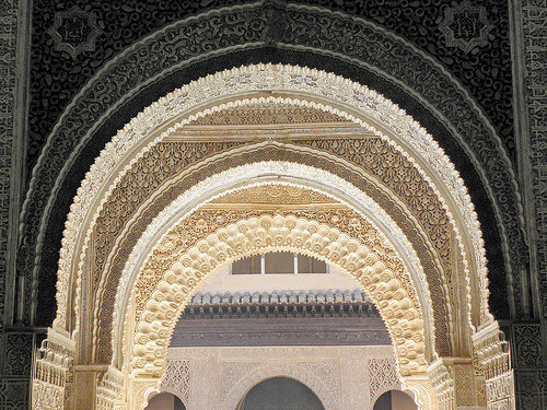 Magnificent portal in the palace of Alhambra in Granada, Spain (by jjrestrepoa)