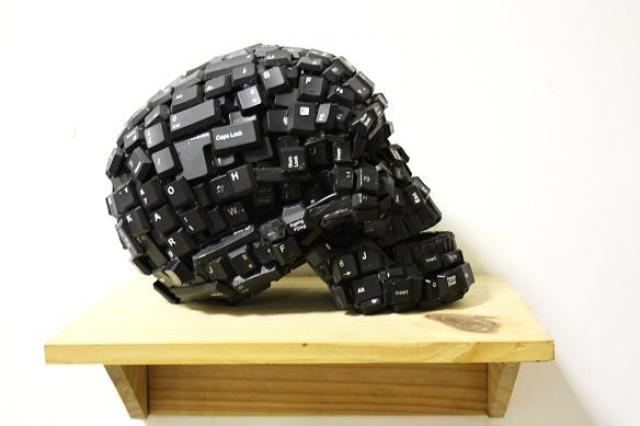 Sculptures made of keyboards by Maurice Mbikayi