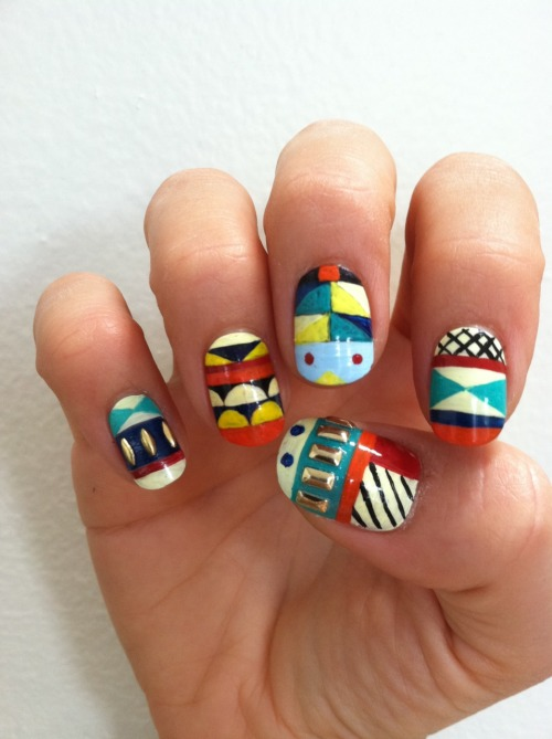 I got to design some nail art for a history of nail art book ( and sit for 4 hours while Ayumi at Valley painted them). I used a weaving by Gunta Stolzl as inspiration.