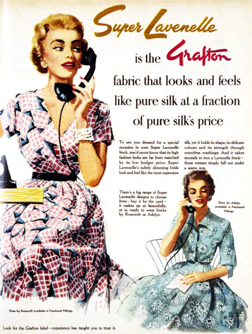 vivatvintage:  Super Lavenelle faux silk from Grafton Fabrics, 1955.