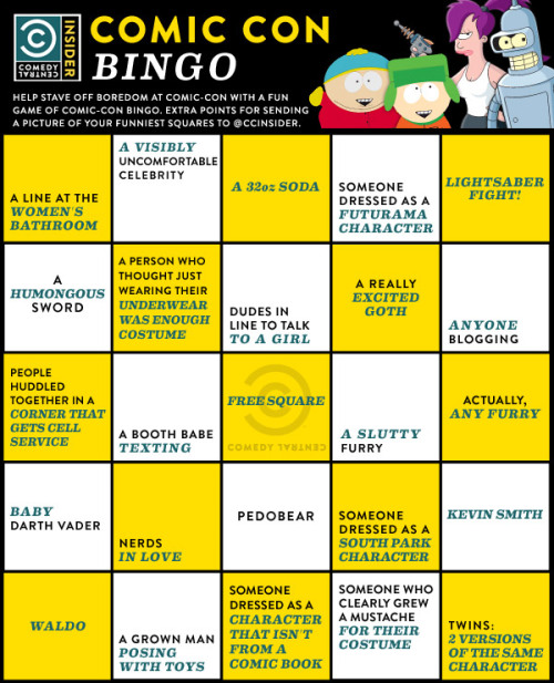 Live at Comic-Con: Oh Snap, It's Comic-Con Bingo!  Look at our handy guide to some of the truly greatest parts of Comic-Con and make sure to send your best ones to @ccinsider. We'll feature our favorites!