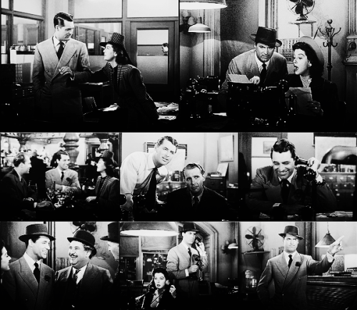 "arealcoolcat:  100 movies I am in love with  HIS GIRL FRIDAY, 1940. (dir. Howard Hawks, starring: Cary Grant, Rosalind Russell etc.) "" ‎Take Hitler and stick him on the funny page! """