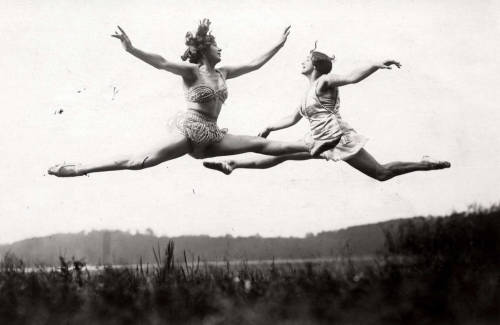firsttimeuser:  Jumping exercises in the open air. Elly and Käthe Bitter,Berlin, 1926 by R. Sennecke The Memory of the Netherlands  I don't know about the clothes styles, but they look happy
