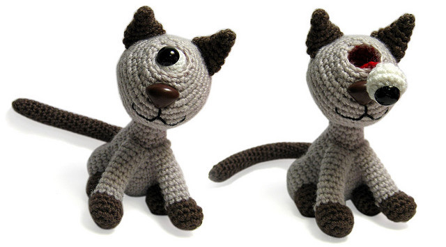 Pop-eye cyclo Kitty by jellibat on Flickr. another of my crochet creations from a few years ago, a one eyed, pop eyed kitty