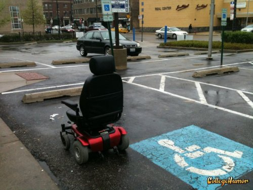 Wheelchair in Handicapped Parking Spot So many questions.