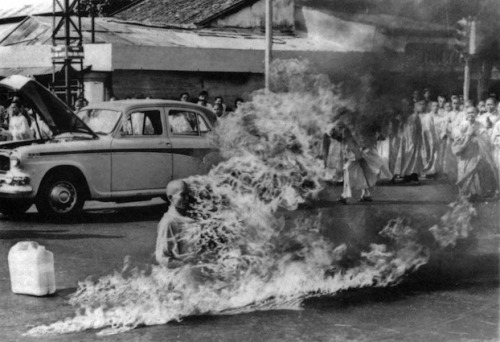 Thich Quang Duc was a Vietnamese Mahayana Buddhist monk who burned himself to death at a busy Saigon road intersection on 11 June 1963, protesting against the persecution of Buddhists by South Vietnam's Ngo Dinh Diem administration.