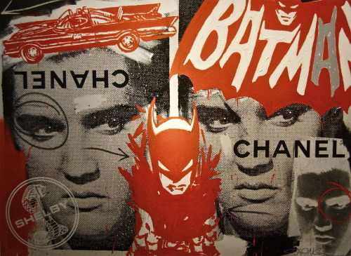 "Batman | Elvis Philadelphia Pop Artist, John Stango's solo show, ""Americana"" on view through July 23 Mixed Media on Canvas"