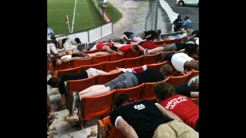 the20s:  Entire Section Of DC United Fans Planks, Makes Inadvertent Statement About The Watchability Of MLS Soccer. The planking craze is officially becoming played out, but the folks in Section 127 at RFK show that you can still do it right with this group plank during a DC United game.  It shows you a good plank is still possible provided A) You aren't a celebrity doing it, and B) You aren't blocking my way on the sidewalk when you do it.    -DM [Deadspin]