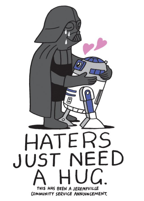Darth Vader and R2D2 hug it out in today's Community Service Announcement from @Jeremyville. See more Jeremyville CSAs here.