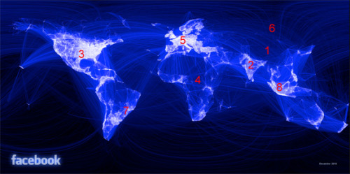 Geographical Analysis of 500 million Facebook friend connections Facebook intern, Paul Buttler, asks which part of the world is crazy for Facebook and which one is untouched.. and more importantly, why? Click here to see the regions and descriptions.
